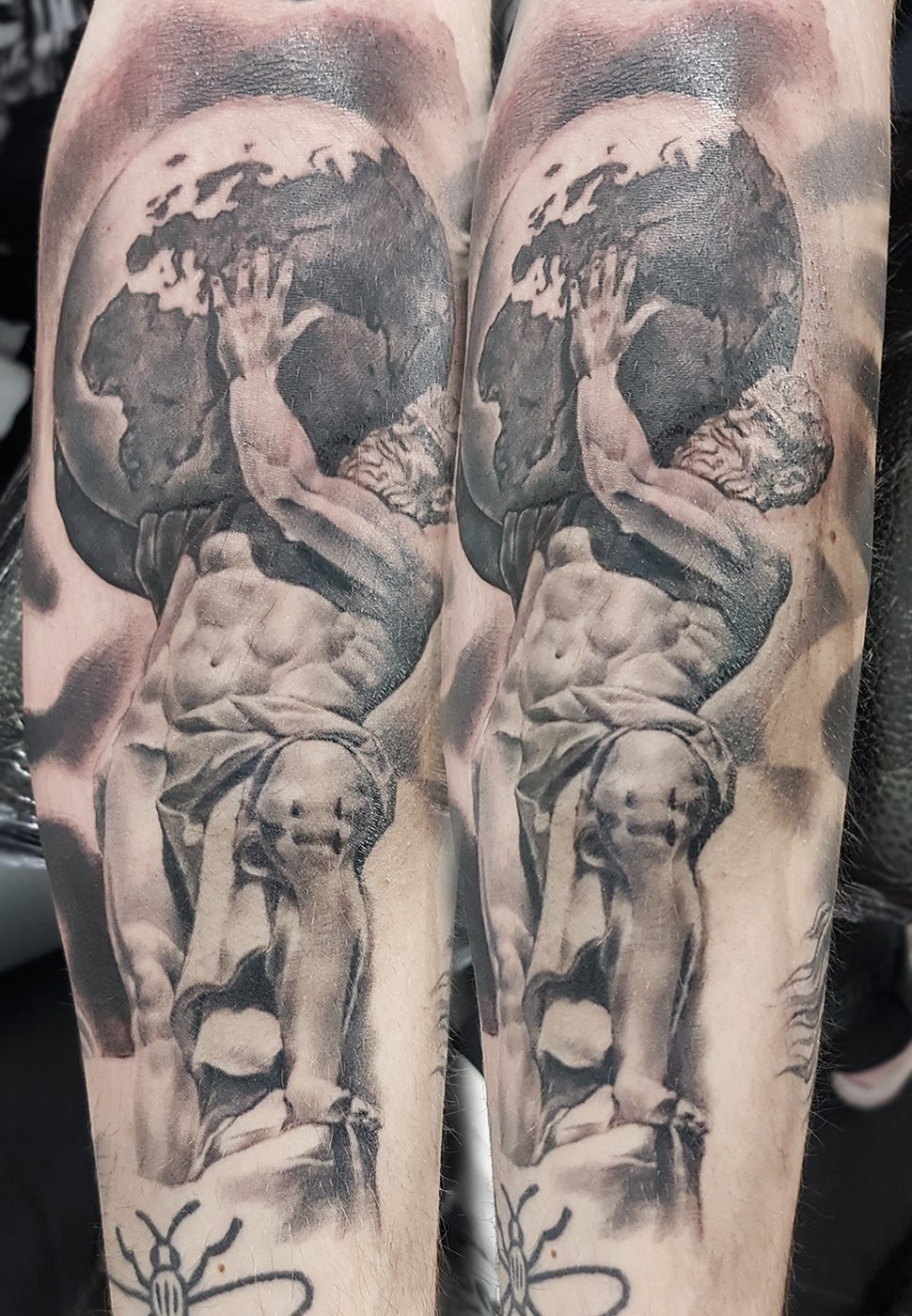 Atlas greek god statue sculpture realism tattoo manchester ancoats