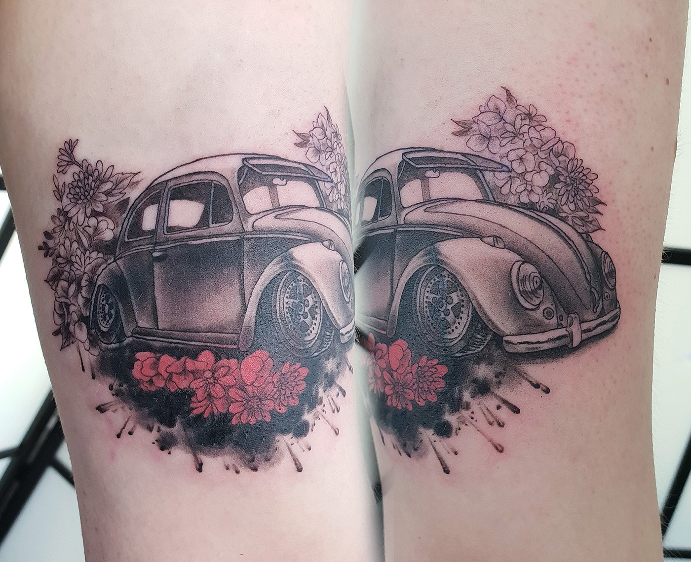 beetle car tattoo cover up arm