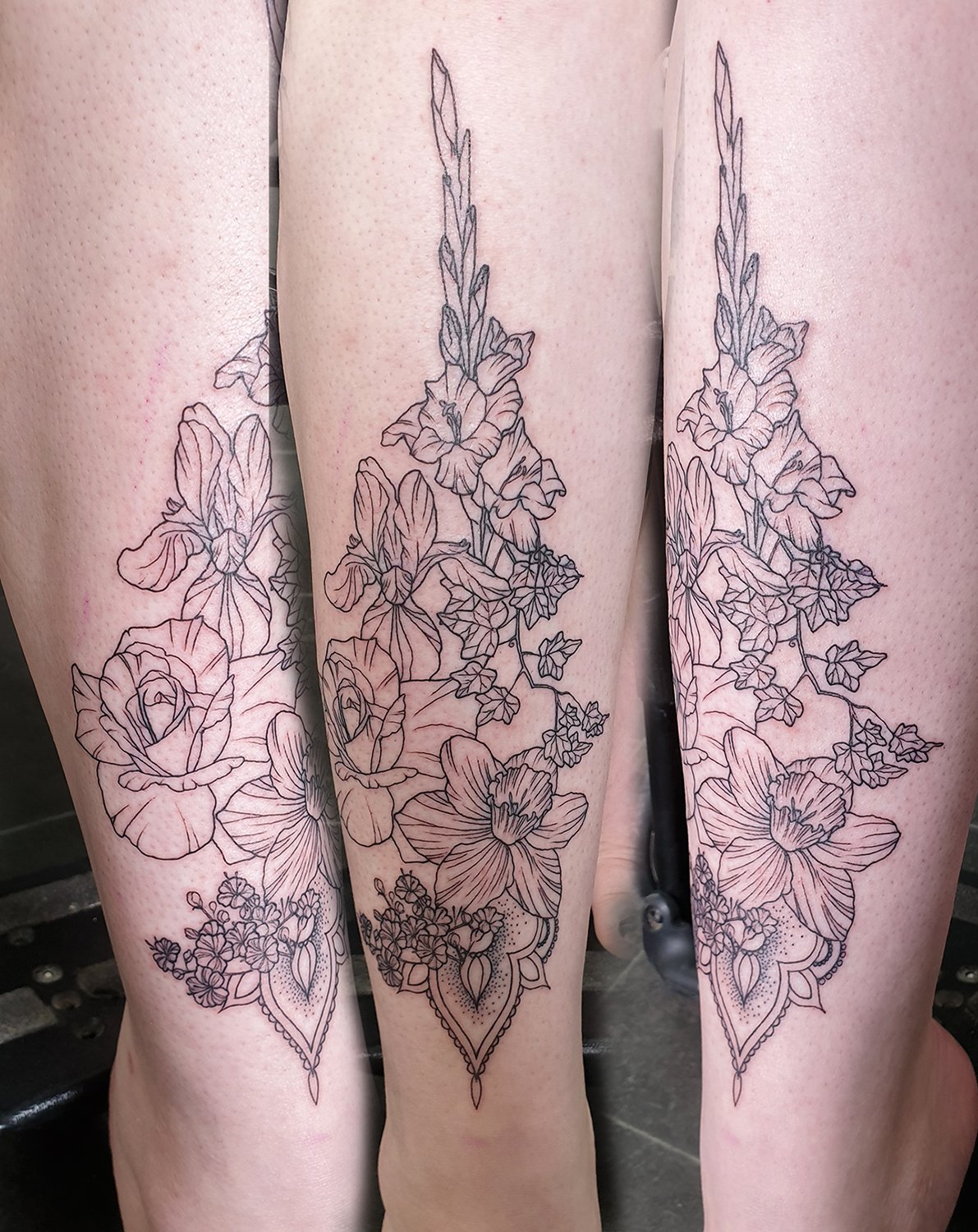 blackwork geometric leg tattoo geometry flowers floral