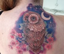colour owl back piece tattoo flowers coverup manchester