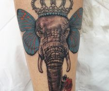 elephant butterfly realism crown nature portrait leg tattoo