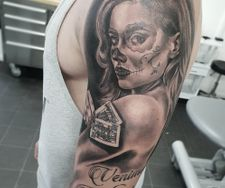 full sleeve tattoo black grey day of the dead female portrait manchest
