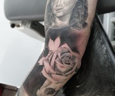 full sleeve tattoo virgin mary roses skull best tattoo black and grey