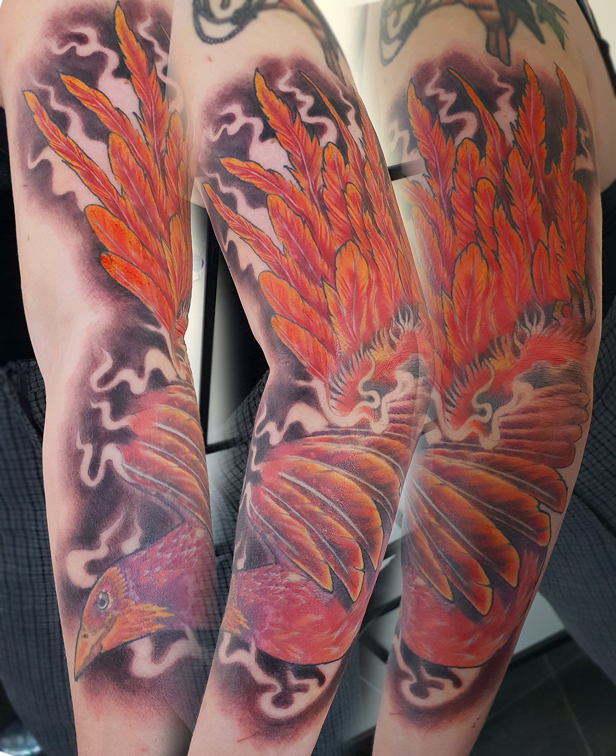 full tattoo sleeve phoenix colour bird fantasy fire