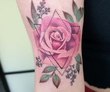 geometric colour mandala tattoo rose realism