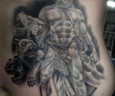 hades cerberus dog greek god mythology tattoo sculpture rib piece manc