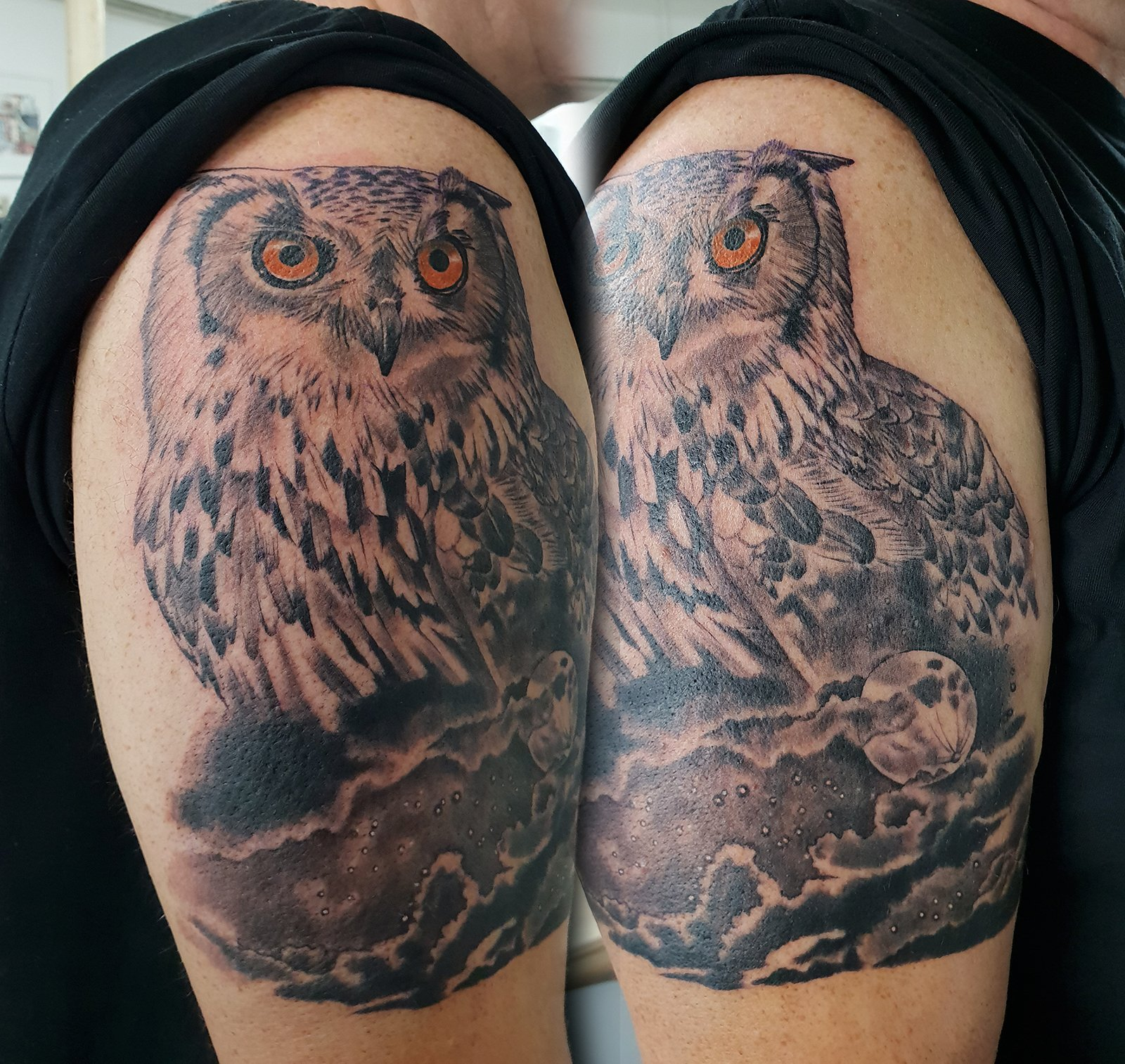 large owl half sleeve tattoo realism bird tattoo manchester