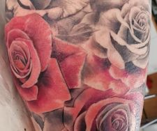 leg sleeve tattoo rose pink roses black grey realism