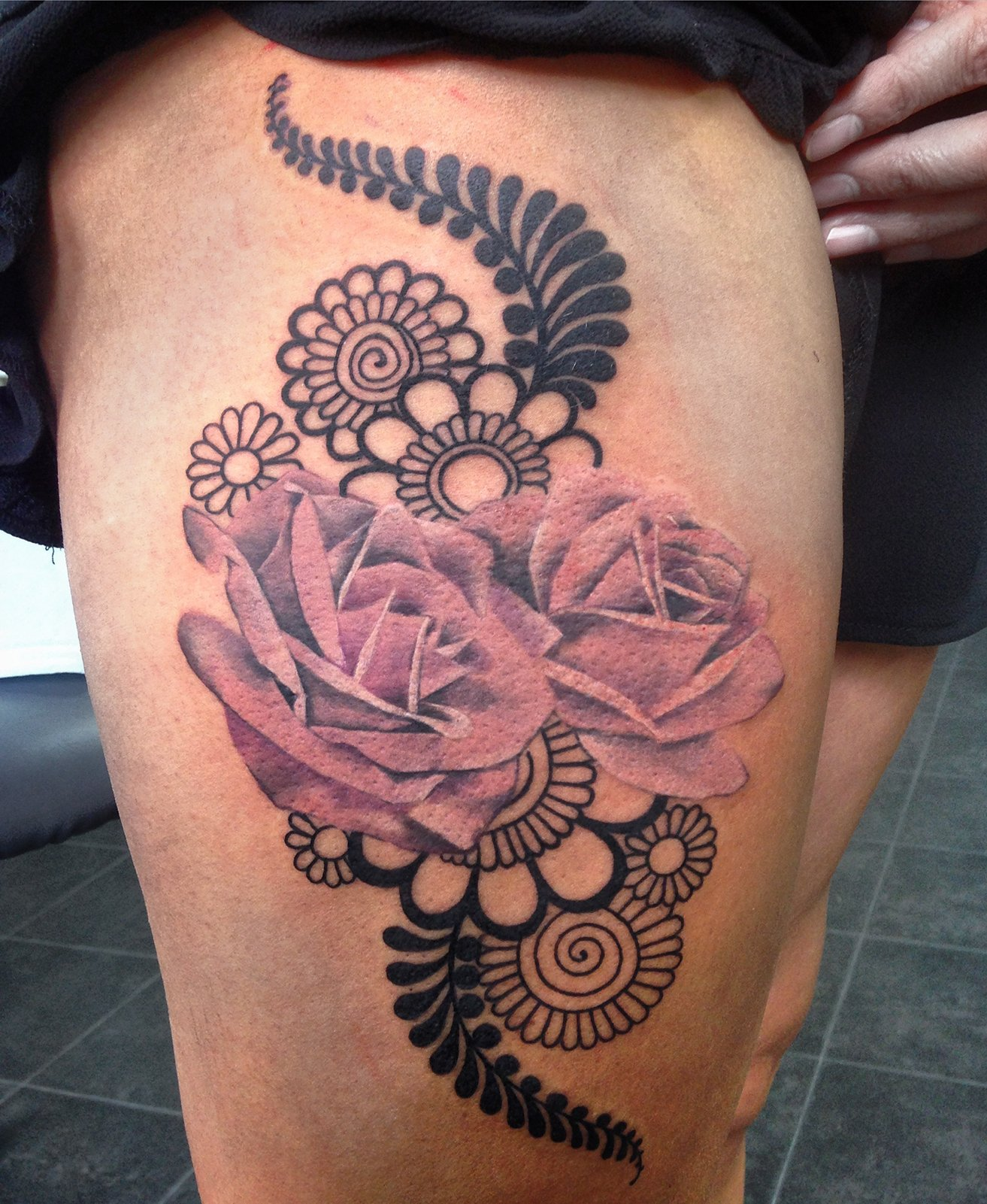 mandala colour flowers roses leg tattoo for women pattern henna manche