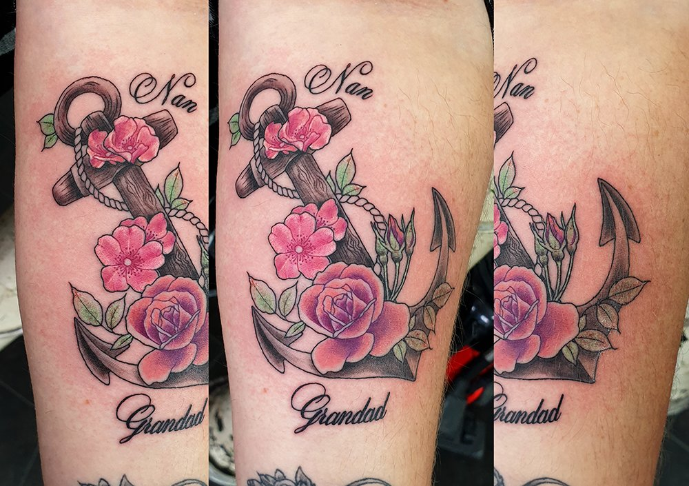 pink rose tattoo anchor colour arm unique design