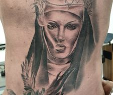 rib tattoo portrait horror realism angel tattooing